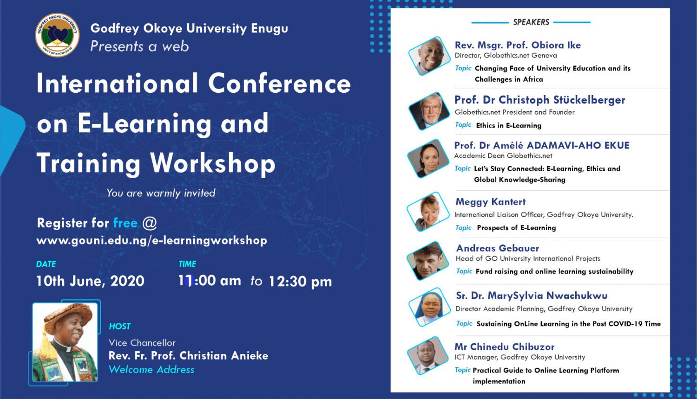 Godfrey Okoye University Enugu Hosts First International E- Conference on Training and Workshop on Zoom